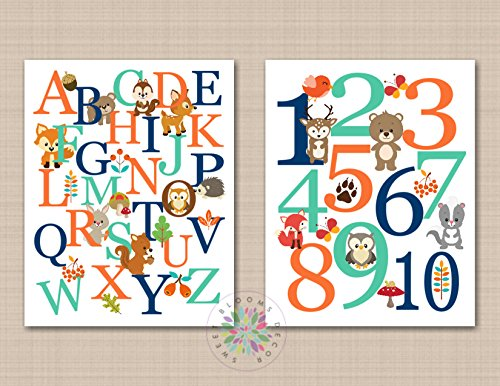 Woodland Nursery Wall Art Alphabet Number Playroom Decor Forest Animals Orange Mint Green Navy Blue UNFRAMED 2 PRINTS (NOT CANVAS) - Mail Number First Tracking Class Usps