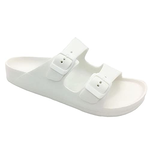 bd5b69d0bae9 FUNKYMONKEY Women's Comfort Slides Double Buckle Adjustable EVA Flat  Sandals (9 M US-Women, White)