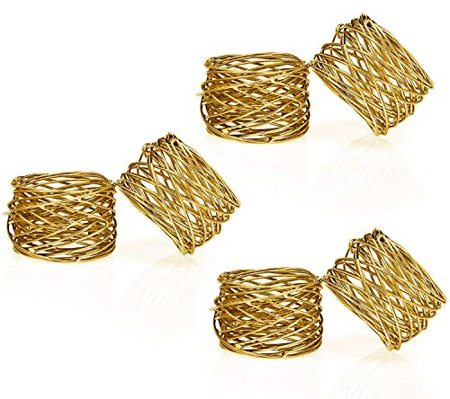 ITOS365 Handmade Gold Round Mesh Napkin Rings Holder for Dinning Table Parties Everyday, Set of 6 ()