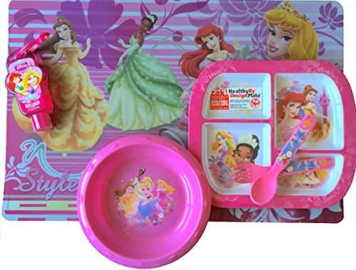 Disney Princesses Placemat - Disney Princesses Dinnerware/lunch Gift Set , Includes Disney Princess Placemat, Bowl , Hand Sanitizer , Spoon and Fork , and Balanced Meals Design Plate