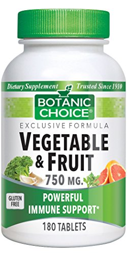 Botanic Choice Vegetable and Fruit Tablets, 750 mg, 180 Tablets (Pack of 2)