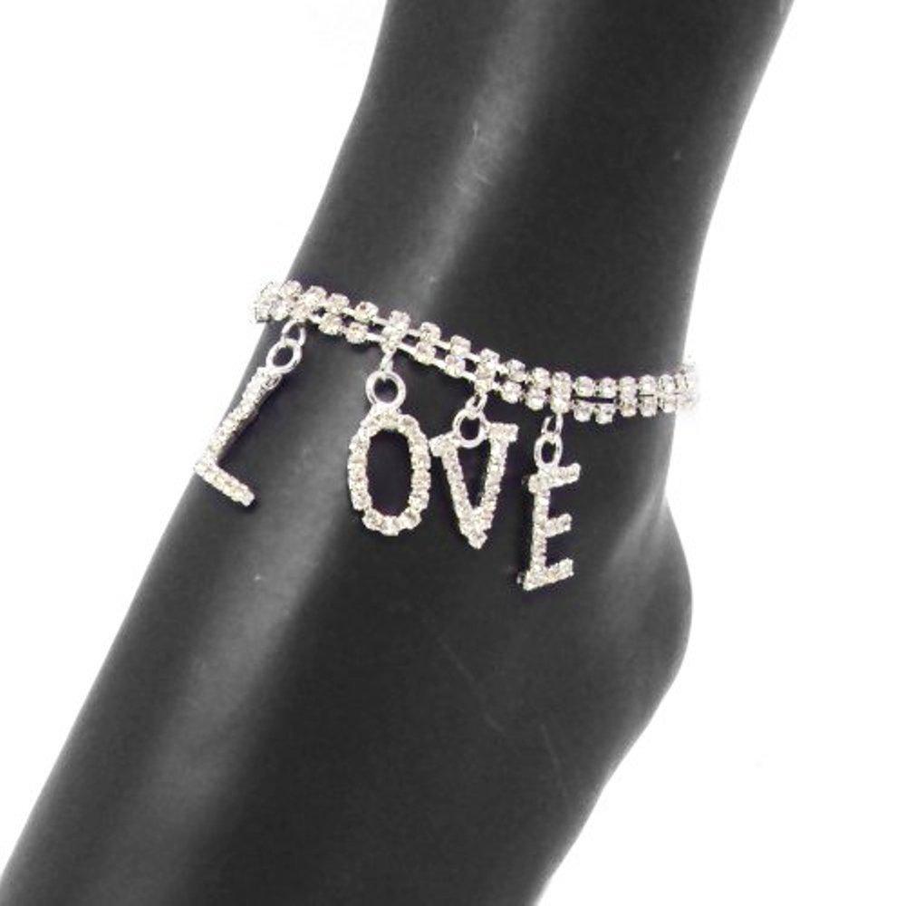 Bridal Princess Wedding Crystal Dangling LOVE Fashion Anklet
