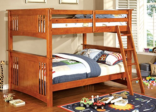 Furniture of America Darvin Full-Full Bunk Bed, Oak Oak Wooden Beds