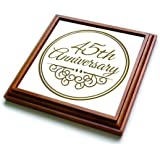 """3dRose trv_154487_1 45Th Anniversary Gift-Celebrating Wedding Anniversaries-45 Years Married Together Trivet with Ceramic Tile, 8 by 8"""", Brown"""