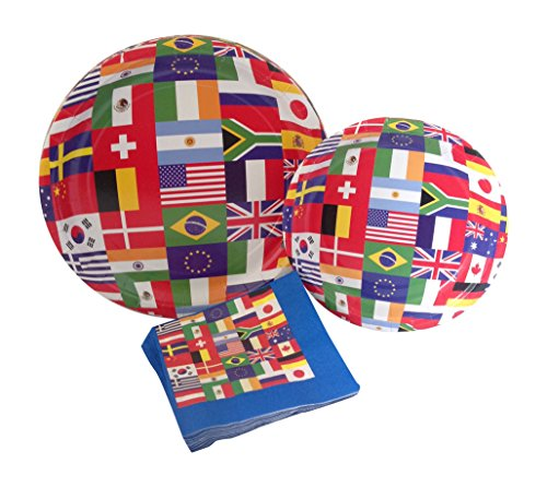 International World Flags Party Supply Pack! Bundle Includes Paper Plates & Napkins for 8 Guests ()