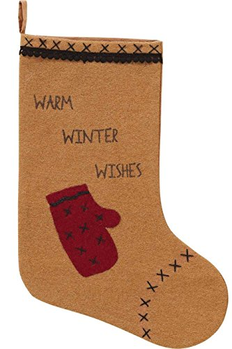 (VHC Brands Christmas Holiday Decor-Warm Wishes Tan Mitten & Pom Pom Lace Appliqued Stocking 11