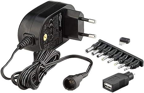 8 enchufes adaptadores m/ás USB 4,5V 7,5V 6V 12V incl 5V 9V Fuente de alimentaci/ón universal 600mAh 3V