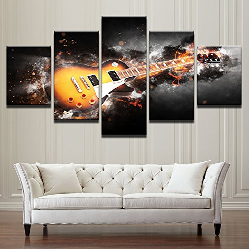 HD Printed Modular Wall Art Abstract Lightning Pictures Frame 5 Pieces Guitar Canvas Painting For Living Room Home Decor ,30x40 30x60 30x80cm,Frame