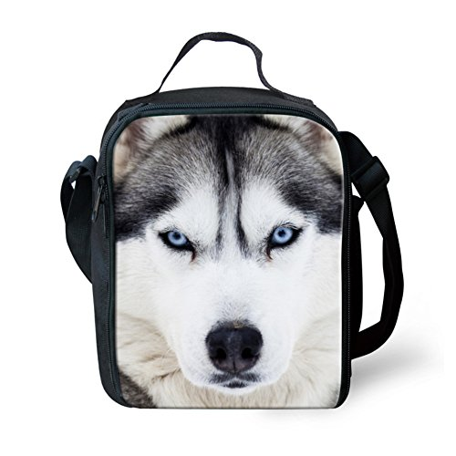 Showudesigns Cool Husky Face Lunch Bag for Men with Water Bottle Side - Lunch Box Face