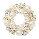Bodhi2000 Ladies Elegant Faux Pearl Rhinestone Scarf Ring Scarfs Buckle Clip Jewelry Gifts
