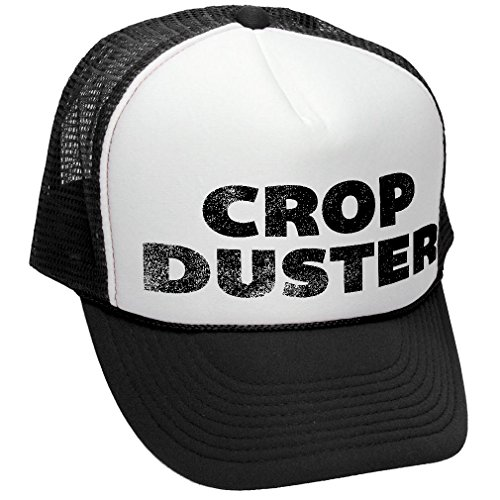 CROP DUSTER - fart prank joke toilet humor - Adult Trucker Cap Hat, Black Baseball Humor Cap
