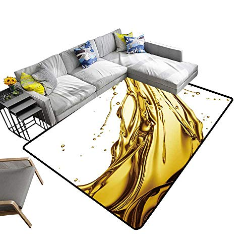 alsohome Non-Slip Area Rug Pad Engine Oil Splashing Isolated on White Background Protect Floors and Securing Rug 6' X 9'