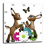 3dRose Spiritual Awakenings Animals - Adorable Baby Fawns playing garden with butterfly - 15x15 Wall Clock (dpp_273428_3)