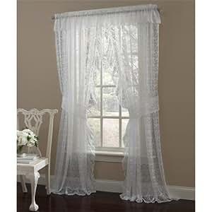 Amazon Com 84 Quot Long White Priscilla Ruffled Lace Curtain