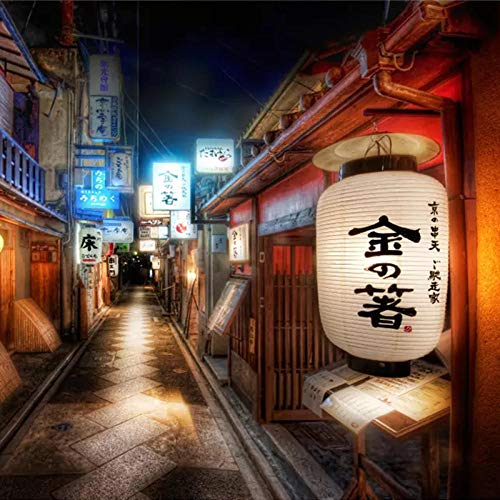 ZBWBZ 3D Custom Wall Sticker Mural Custom Mural Wall Painting Retro Streets Japanese Style Restaurant Sushi Shop Background Wall Decorative Wallpaper for The Wall-140X100CM