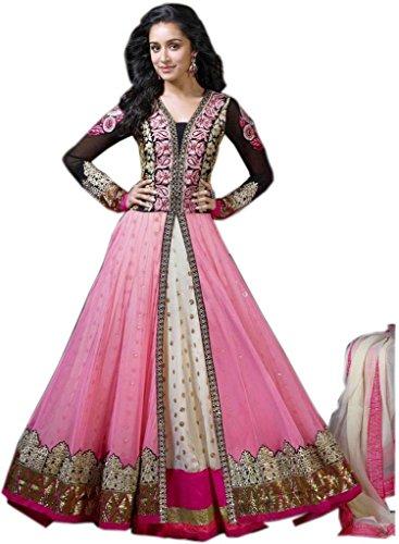 RUHANI Women's Anarkali Salwar Kameez Designer Indian Dress Bollywood Ethnic Party One Size Pink - Kameez Dress