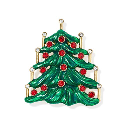 MMA Christmas Jewelry Christmas Pins Christmas Brooch Swarovski Crystals Hand Enameled Christmas Tree Pin Costume Jewelry 1 3/4''L x 1 1/2''W