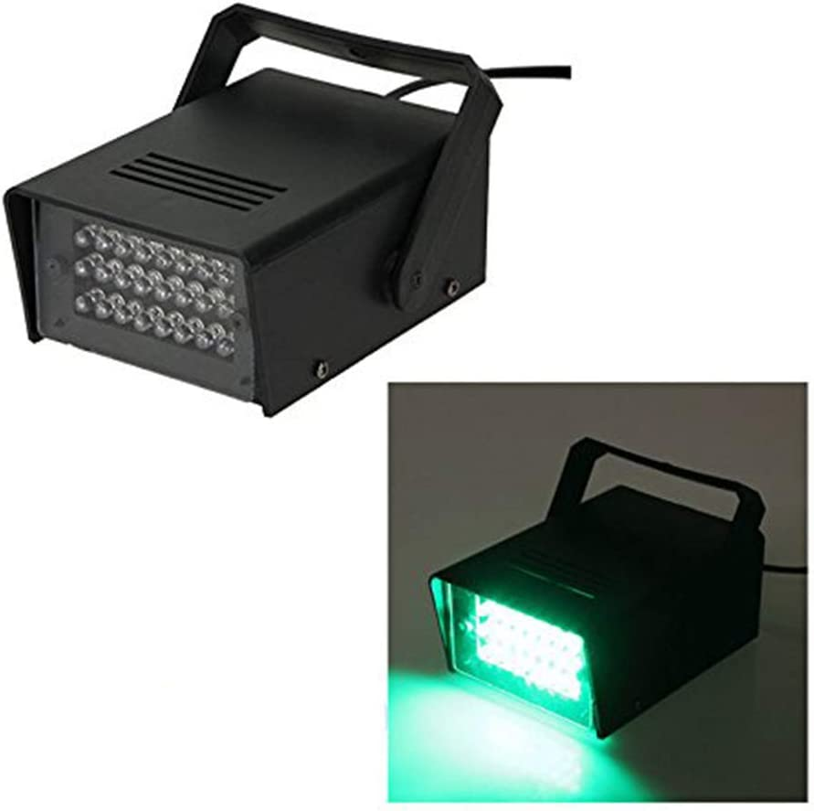 Green 24 LED Mini Strobe Light Adjustable High Intensity Strobe Including Wall Mounting Bracket for Home Disco Karaoke DJ Bar Black Casing Mains Electric Operated (Not Battery Operated)