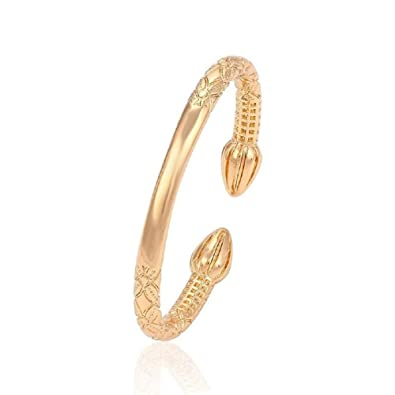 Fate Love Jewellery Yellow Gold Plated Smooth Torque Bangle Bracelet, Excellent Gift for Women