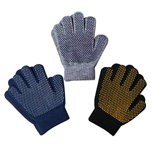EvridWear Boys Girls Magic Stretch Gripper Gloves 3 Pair Pack Assortment, Kids One Size Winter Warm Gloves Children (3 Pairs Skate, 4-6Years)