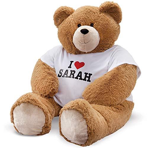 Extra Teddy Large Bear - Vermont Teddy Bear - Custom T-Shirt Teddy Bear, Huge Stuffed Animals, 4 Feet Tall, Brown