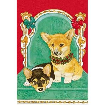 corgi christmas cards 10 holiday cards with red envelopes adorable - Corgi Christmas