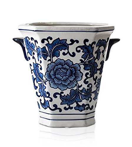 Porcelain Garden Vases - Zeesline Cobalt Blue and White Two-Handled Porcelain cachepot planter, Decorative Home & Garden Vase Pot