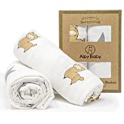 "Bamboo Muslin Swaddle Blankets by Alpy Baby - ""Alpacas and Stars"" - 47 inches x 47 inches - Silky Soft in Beige, Grey, White - Set of 2"