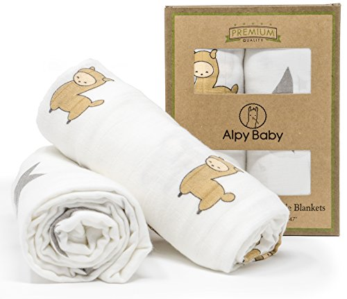 """Alpy Baby Bamboo Muslin Swaddle Blankets - """"Alpacas and Stars"""" - 47 inches x 47 inches - Silky Soft in Beige, Grey, White - Set of 2"""