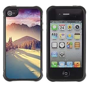 """Pulsar iFace Series Tpu silicona Carcasa Funda Case para Apple iPhone 4 / iPhone 4S , Montañas de la nieve de invierno la luz del sol"""""""