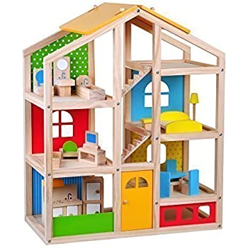 Skylar Dollhouse with 20 Pcs Furniture, 4 Dolls and a Pet dog