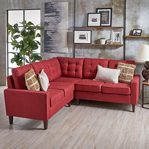 Niya Mid Century Modern Red 3 Piece Sectional Sofa
