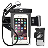 EOTW Waterproof Cell Phone Case Dry Bag Pouch Pocket With Armband Case For iPhone 6 6S Plus 5S SE Samsung Galaxy S4 S5 S6 S7 Edge Note 5 LG G3 G4 G5 HTC One Blu Lumia Moto For Diving Surfing - Black + 2 Bands