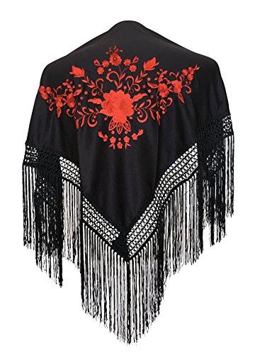 La Senorita Spanish Flamenco Dance Shawl Black red Girls Small (Spanish Dance Flamenco)