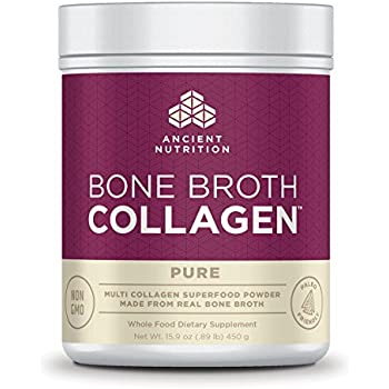 Ancient Nutrition Bone Broth Collagen Powder, 30 Servings of All-Natural Protein Powder Loaded with Bone Broth Co-Factors, 10g of Type I, II and III Collagen Per Serving (Pure)