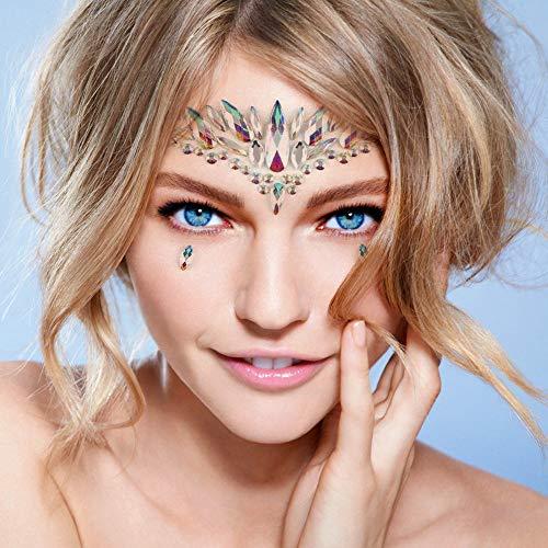 Leoars Rhinestone Body Gems Jewels,Mermaid Face Jewels Stick on, Rainbow Chest Gems Tattoo, Crystals Breast Pasties Gem Bindi Nipple Covers, Hair Jewelry Gliiter for for Festival Rave,4-Pack