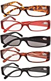 Eyekepper Spring Hinge Plastic Reading Glasses (5 Pack Mix) Includes Sunglass Readers Women +1.5