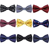 AVANTMEN 9 PCS Pre-tied Adjustable Bowties for Men Mixed Color Assorted Neck Tie Bow Ties (9 Pack, Style 4)