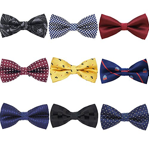 - AVANTMEN 9 PCS Pre-tied Adjustable Bowties for Men Mixed Color Assorted Neck Tie Bow Ties (9 Pack, Style 4)