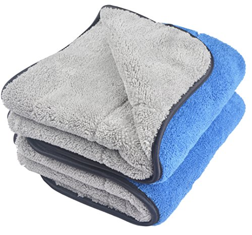 (KinHwa Microfiber Car Cleaning Towels Ultra Thick Car Drying Towel Super Absorbent Car Wash Towels Drying Double Layers Plush 16Inch x 24Inch 2 Pack Blue/Grey)