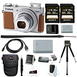 Canon Powershot G9 X Mark II Digital Camera (Silver) + 64GB Kit +Battery +Bundle