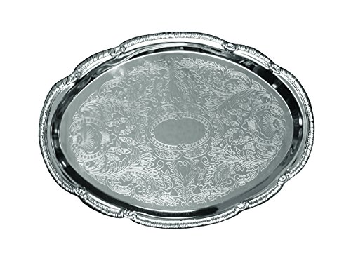 (Update International CT-1813V Embossed Serving Tray Oval, 18 x 13 in, Stainless Steel)
