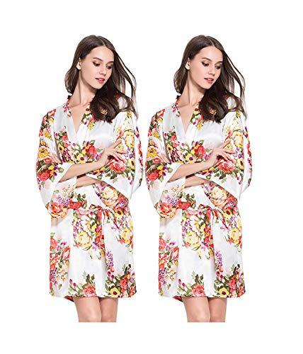 Scollo Blush A Robe Con Abito Chiaro Da Unique Manica Kimono Rosa Camicia Stlie V Stampa Floreale Bianca Lunga Donna Notte nwqqTxIEO8