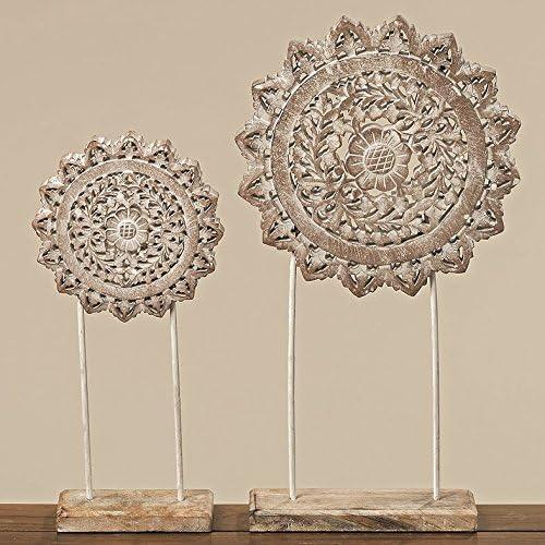 2 x Holzornament weiß 40 /& 54 cm rund Ornament mit Sockel Mandala Holz shabby