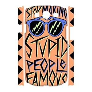 3D Samsung Galaxy S3 Case Stupid People Famous, Typography Dustin, {White}