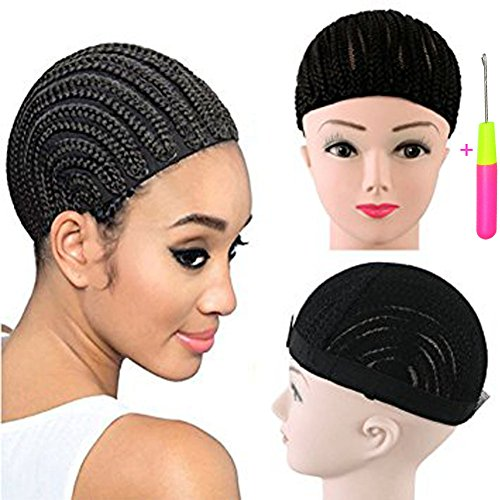 Wig Cap Construction (Cornrow Wig Caps For Making Wigs 1pcs/lot Braided Cap For Weave Crotchet Black Color Braiding Wig Cap Adjustable Cap With Crotchet Braids (braided wig cap 1 pcs))