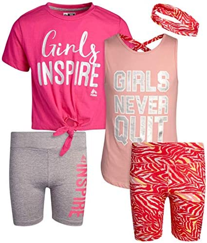 RBX Girls' Active Bike Shorts Set – Short Sleeve T-Shirt and Yoga Gym Shorts (4 Piece)