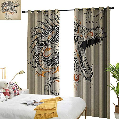 WinfreyDecor Blackout Curtains Japanese Dragon Doodle Style Roaring Creature with Tail Fangs Scales Tribal Details Darkening and Thermal Insulating W120 x L96 Tan Black Gold ()