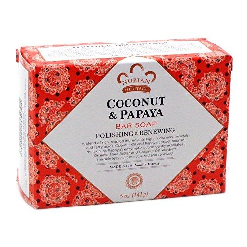 Nubian Heritage Coconut & Papaya Soap 5 Oz X 6 (Papaya Soap Bars)