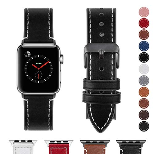 Fullmosa Compatible Apple Watch Band 38mm 40mm 42mm 44mm Genuine Leather iWatch Bands, 38mm 40mm Black + Smoky Grey Buckle ()